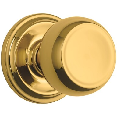 Brink's Push Pull Rotate Stafford Interior Non-locking  Knob in Polished Brass Image