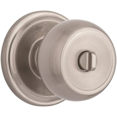 Brink's Push Pull Rotate Stafford Interior Locking  Knob in Satin Nickel Image