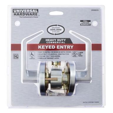 Universal Hardware Heavy Duty Keyed Entry, Satin Chrome Finish Image
